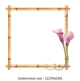 Realistic pink calla lily, bamboo frame.