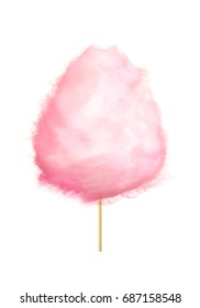 Realistic pink cotton candy on stick isolated on white. Made by heating and liquefying sugar and spinning it out through minute holes, where it strands sugar glass