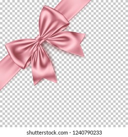 Realistic pink gift bow and ribbon isolated on transparent background. Detailed decoration elements for Christmas, birthday, Valentine's Day, Women's, Mothers' Day, and other celebrations.