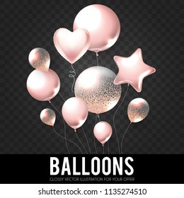Realistic Pink Glossy and Transparent Balloons with Confetti. Holiday, Sale and Party Decoration. Birtday. Wedding, Greetings, Congratulations, Anniversary, Win and so on. Vector illustration
