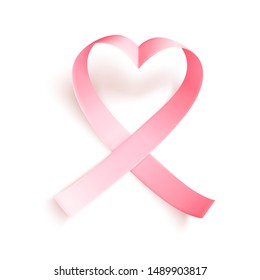 Realistic pink heartshaped ribbon over white background with shadow. Symbol of national breast canser awareness month in october. Vector illustration.