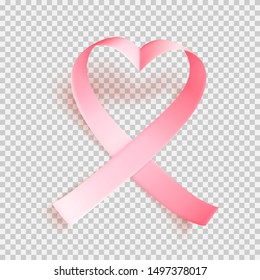 Realistic pink heartshaped ribbon over transparent background with shadow. Symbol of national breast canser awareness month in october. Vector illustration.