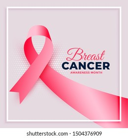 realistic pink ribbon breast cancer awareness month background