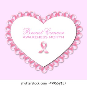 Realistic pink ribbon, breast cancer awareness symbol, isolated on white. Vector illustration, eps10. Breast Cancer Awareness Ribbon Background.  Logo for poster. Message for women. Check yourself.