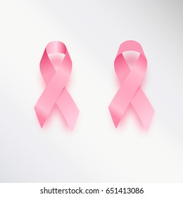 Realistic pink ribbon, breast cancer awareness symbol, isolated on white. Vector illustration, eps10.