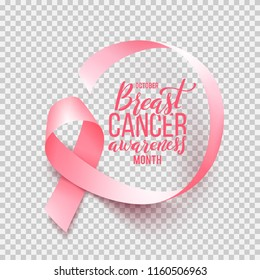 Realistic pink ribbon isolated over transparent background with handdrawn lettering. Symbol of breast cancer awareness month in october. Vector illustration.