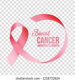 Realistic pink ribbon with transparent background with handdrawn lettering. Symbol of breast cancer awareness month in october. Vector illustration. Template