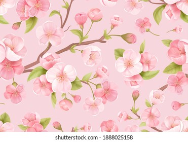Realistic pink Sakura blossom seamless background. Japanese flowering cherry exotic texture. Spring flowers, leaves pattern for wedding backdrop, textile, fabric