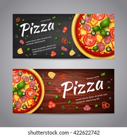 Realistic Pizza Pizzeria flyer vector background. Two horizontal Pizza banners with ingredients and text on wooden background and blackboard