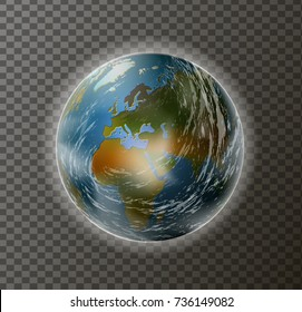 realistic planet Earth with clouds and atmosphere isolated, vector