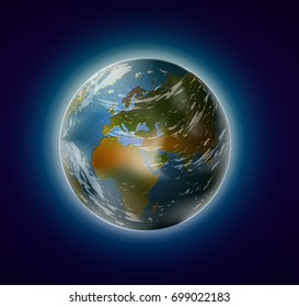 realistic planet Earth from space with clouds and atmosphere, vector