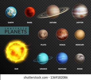 Realistic planets. Solar system planet space universe galaxy sun moon saturn mercury jupiter venus comet uranus pluto, astronomy vector isolated