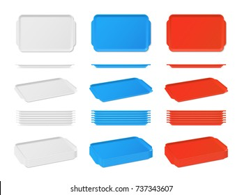 Realistic plastic blank food tray with handles. Rectangular kitchen salvers. Plastic tray for canteen illustration, plate rectangle stack vector