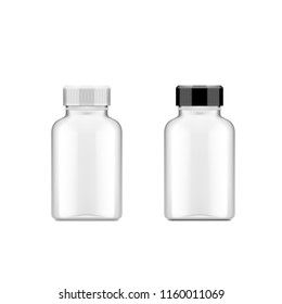 Realistic Plastic Bottle For Medical Or Other Use. EPS10 Vector