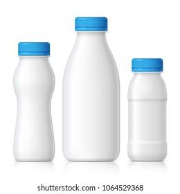 Realistic plastic bottle for milk, yogurt or kefir and other liquids. Mock Up Template. Vector illustration