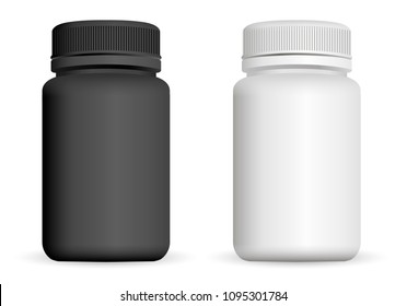 Realistic plastic bottles. Black and white 3d Vector illustration. Mock Up Template set of medicine package for pills, capsule, drugs.