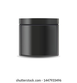 Realistic plastic cosmetics jar, container for face cream, body lotion vector illustration on white background. Mock Up for cosmetics products