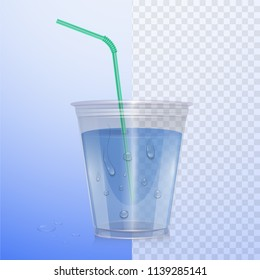 Realistic plastic cup with clean water. Vector Illustration on transparent background.