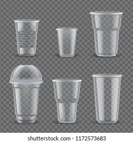 Realistic plastic cups mockup set. Containers to hold beverages empty with copyspace for text or logo, tableware and disposable food packaging. 3d plastic cup isolated vector illustration.
