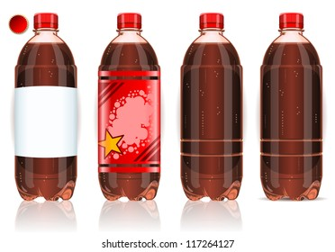 Realistic Plastic Label Bottle of Coke. Cold Soda Cola soft drink vector illustration set