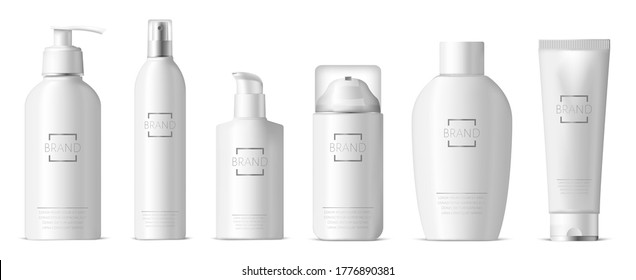 Realistic plastic skincare package. Cosmetic 3d plastic bottle, dispenser pump and spray, shampoo, lotion, soap package vector illustration set. Realistic container skincare foam, bottle and package