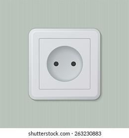 Realistic plastic white electric socket type C (europe). Vector illustration, easy editable.