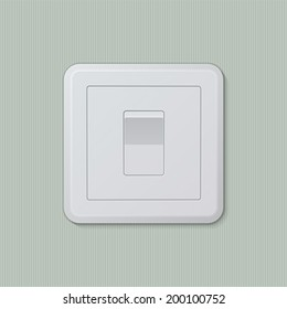 """Realistic plastic white light switch in """"on"""" position. Vector illustration, easy editable."""