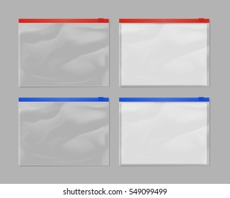 Realistic plastic zipper bag mock up set isolated on grey background vector illustration. Blank packaging 3d model empty sealed plastic zipper bag , transparent container. Plastic zipper bag template