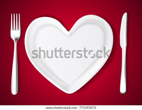 Realistic Knife In The Heart Drawing: Realistic Plate Shape Heart Knife Fork Stock Vector