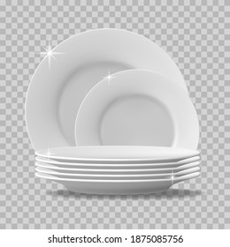 Realistic plate stack. Clean dishes, stacked kitchen tableware for dishwasher. Stack of clean washed food plates, tableware vector illustration. Porcelain crockery plate, detailed kitchen closeup utensil