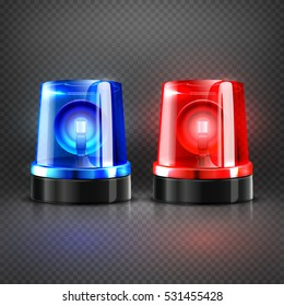 Realistic police ambulance flashing red and blue sirens isolated vector illustration