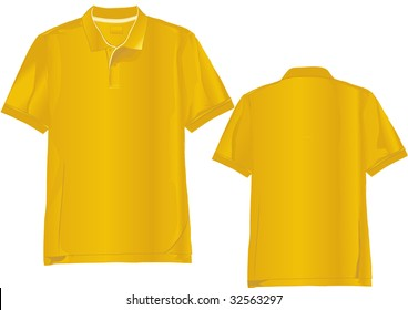 Realistic polo shirt template with only linear gradients used.