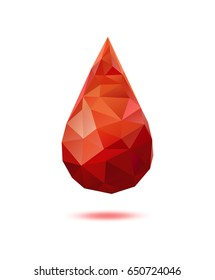Realistic polygonal blood drop isolated on white background.  Medical symbol. 3d glossy drop of blood. Vector illustration.