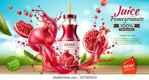 Realistic pomegranate juice package advertising design with bottle on table with fruits