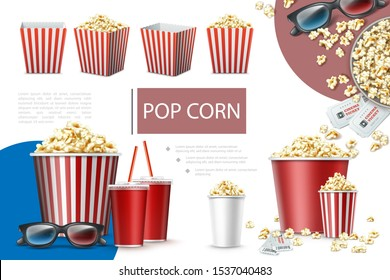 Realistic popcorn elements composition with paper bags and buckets of popcorn soda cups cinema tickets and 3d glasses vector illustration