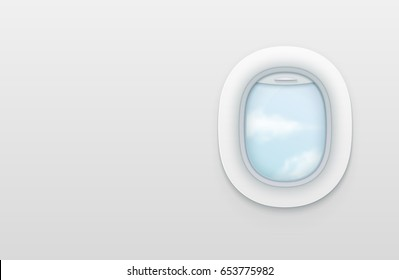 Realistic portholes of airplane. White window aircraft vector illustration