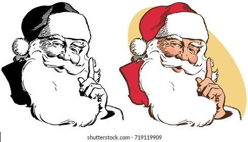 A realistic portrait of Santa Claus stroking his beard