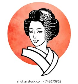 Realistic portrait of the young Japanese girl an ancient hairstyle. Geisha, maiko, princess. Background - the red watercolor sun. Print, poster, t-shirt, card. Vector illustration isolated on white.