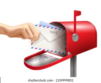 Realistic post mailbox letter hand composition with images of human hand envelopes and classic mail box vector illustration