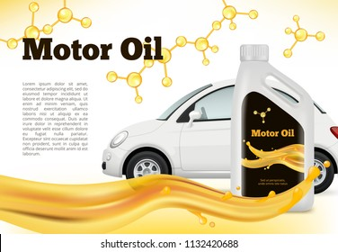 Realistic poster of car. Vector illustrations of Car oils advertizing. Banner oil motor container, advertise service auto