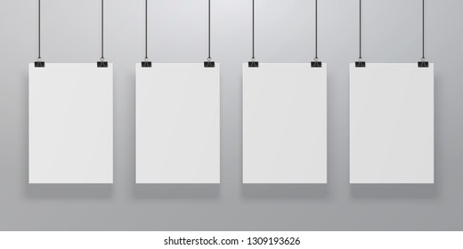 Realistic poster mockup. Blank paper hanging on binders at the wall, empty A4 paper poster clipped on ropes. Vector advertising frames