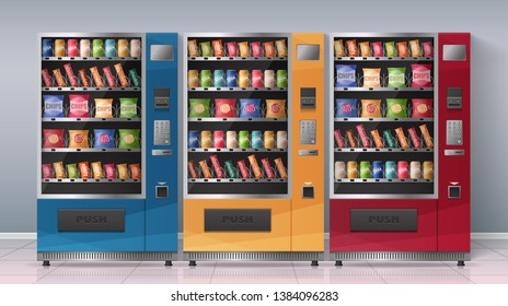 Realistic poster with three multicolored vending machines full of beverages and snacks vector illustration