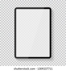 Realistic premium tablet pc computer with blank touch screen isolated on black white background. Ipad tablet vector mockup in trendy thin frame. Vector illustration for your design and business.