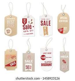 Realistic price tag. 3d sale paper hang and retail cutting cardboard label in origami retro style blank template shopping gift set , premium grocery badges for buying discount decoration