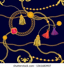 Realistic print with golden chains, rubins and colorful brushes. Seamless vector pattern with jewelry elements. Women's fashon collection. On black background.