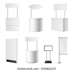 Realistic promotional stands. 3d white blank advertising counters collection, isolated blank events desks mockup, different designs models, clean empty promo tables with signboard and flags vector set