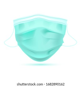 Realistic Protective Medical face mask Front side vector