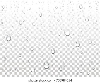 Realistic pure water drops on isolated background. Clean water drop condensation. Steam shower condensation on vertical surface. Vector illustration.