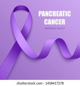 Realistic purple ribbon. Symbol of epilepsy, lupus, Alzheimers disease, pancreatic cancer, domestic violence awareness