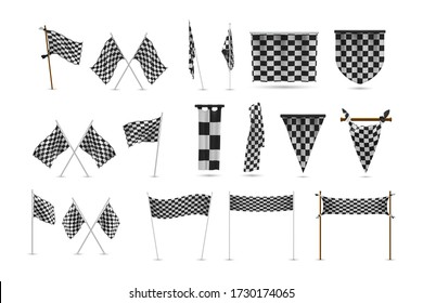Realistic racing flags set collection. Illustration of realism style drawn black and white checkered standards for marking start finish. Collection of race competition banners on white background.
